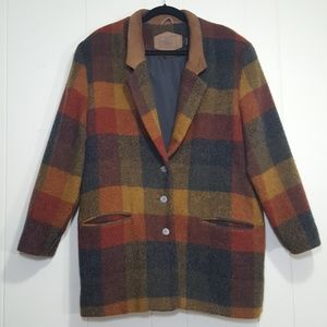 Woolrich wool mohair blend coat brown size L plaid